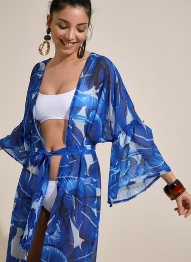 Morhipo Beach Yaprak Desenli Volan Detaylı Kimono Mavi